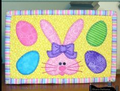 PDF Pattern to make this bunny and eggs mug rug, or Easter mini quilt. Made with these egg and bu