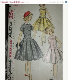pattern pieces are cut apart pattern is unused, complete Simplicity 1496 girls size 10 chest 28 waist 24 hip 30 long bodiced dress has short sleeves or is sleeveless, has detachable collar, skirt pleats may be pressed or unpressed envelope has small tears around edges pattern not dated, circa 1950s