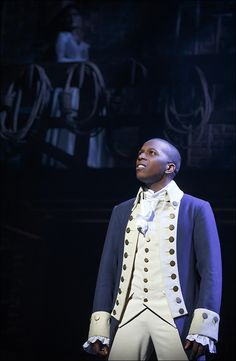 """Leslie Odom, Jr. as Aaron Burr, who's willing to """"Wait For It,"""" in HAMILTON. Run, don't walk, to see it! (photo by Joan Marcus)"""