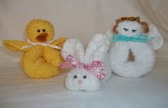 Washcloth ducky, bunny & angel