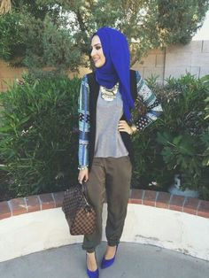 Trendy bright deep blue color hijab  Gorgeous daily muslim outfit