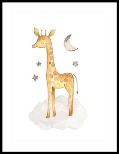 Watercolor Baby Giraffe and Friends Framed Print by Jared Austin Baby Room Art, Baby Art, Baby Boy Rooms, Vintage Baby Pictures, Giraffe Drawing, Watercolor Lion, Baby Animal Nursery, Woodland Art, Baby Posters