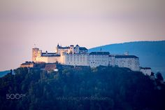 The Fortress Hohensalzburg above Salzburg in the last light of the day Online Shipping, Salzburg, Order Prints, My Images, Photographers, Louvre, Clouds, Facebook, Instagram