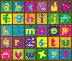 The Alphabuds fabric by ravenous on Spoonflower - custom fabric
