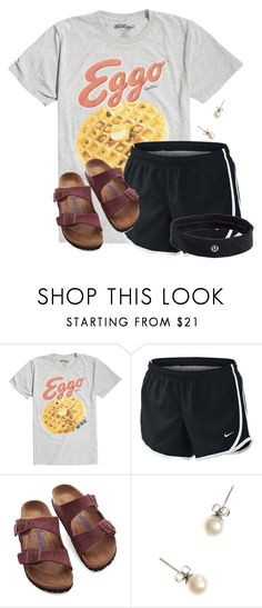 """""""This shirt oh my goodness"""" by flroasburn ❤ liked on Polyvore featuring NIKE, Birkenstock, J.Crew and lululemon"""