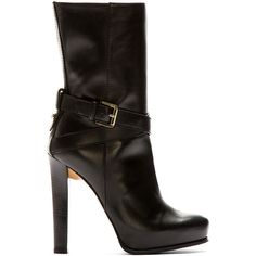 Dsquared2 Black Leather High Heel Vitello Boot ($210) ❤ liked on Polyvore featuring shoes, boots, ankle booties, heels, scarpe, platform booties, black heeled booties, black leather boots, high heel ankle boots and black leather ankle booties