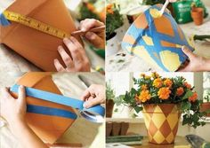 15 Creative Ways to Make Boring Flower Pots Pop Terracotta Flower Pots, Plastic Flower Pots, Painted Clay Pots, Painted Flower Pots, Garden Ideas To Make, Flower Pot People, Diy Diwali Decorations, Decorated Flower Pots, Outdoor Paint