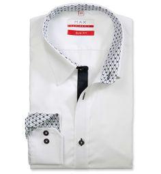 Slim Fit priliehavá biela jednofarebná košeľa Popelín (plátnová tkanina) Leto, Ecommerce Platforms, Product Launch, Shirt Dress, Mens Tops, Shirts, Dresses, Fashion, Vestidos