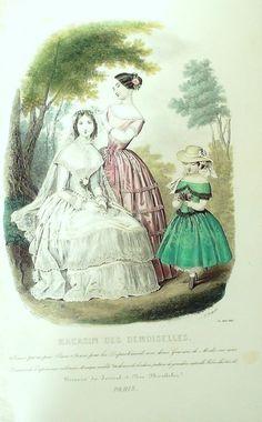 GRAVURE de MODE AUTHENTIQUE-F192-MAGASIN DEMOISELLES-ROBES DE MARIEE-1849