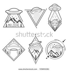 Set of six UFO vector emblems, labels, badges or logos. Mystical symbol paranormal phenomena, first contact, invasion of Space Drawings, Pencil Art Drawings, Art Drawings Sketches, Tattoo Sketches, Easy Drawings, Tattoo Drawings, Alien Tattoo, Cute Tattoos, Small Tattoos