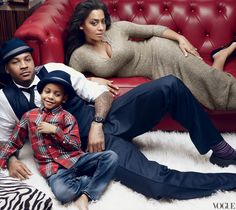 LaLa Anthony w/Carmelo Anthony & son  by Annie Leibovitz