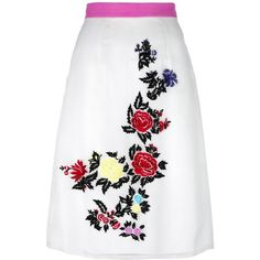 House Of Holland rose embroidery straight skirt ($349) ❤ liked on Polyvore featuring skirts, white, house of holland, straight skirts, rosette skirt, white embroidered skirt and house of holland skirt