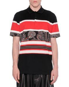 N2S3C Givenchy Paisley-Stripe Polo Shirt
