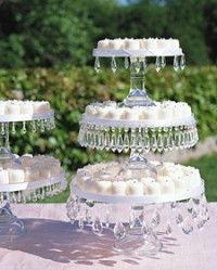 Decorate cake stands...how about using those chandlier drops!