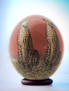 Decoupage Leopards ostrich egg: Two by InteriorofAfrica on Etsy