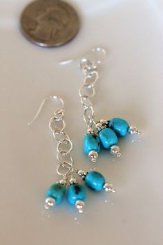 genuine kingman turquoise long dangle sterling silver by girlthree