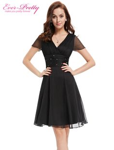 $43.18 - Awesome Cocktail Dresses EP03882BK Short Sleeve V Neck Lace Ruched Bust Chiffon Special Occasion - Buy it Now!