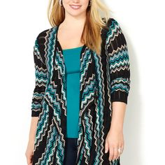 Chevron Pointelle Cardigan-Plus Size Cardigan-Avenue