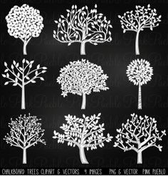 Chalkboard Trees Clip Art  Vectors | Our Chalkboard Tree Silhouettes Clipart includes 9 PNG files with transparent backgrounds and 1 Adobe Illustrator vector file. The PNGs 300dpi and each complete tree is approximately 10 inches at it's widest point.