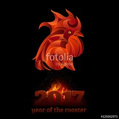 """Téléchargez le fichier vectoriel libre de droits """"Fire rooster, vector illustration"""" créé par badwiser au meilleur prix sur Fotolia.com. Parcourez notre banque d'images en ligne et trouvez l'illustration parfaite pour vos projets marketing !"""
