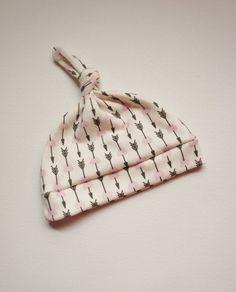 Lavender Love Arrow Organic Newborn Hat - Organic Cotton Knit - Baby Hat on Etsy, $8.00