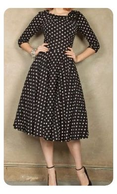 Womens plus size modest polka dot 3/4 sleeve fit and flare vintage evening dresses are available in 2XL-6XL. #plussize #dresses