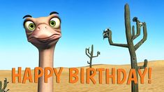 """Funny birthday greetings video, were cartoon Ostrich and Dodo sing Happy Birthday song and funny dance. Share the short birthday song from """"video present"""" ht. Funny Happy Birthday Gif, Happy Birthday Song Video, Happy Birthday John, Happy Birthday Best Friend, Singing Happy Birthday, Birthday Wishes Greetings, Funny Songs, Music Happy, Heavens"""