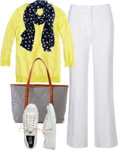 """""""Yellow, navy, white"""" by luv2shopmom ❤ liked on Polyvore"""