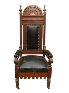 Cool Vintage Masonic Chair With Wheels Antique Dining