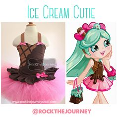 Chocolate Ice Cream Parlor, Strawberry Sundae, Peppa Mint Shopkins, Shoppie, Pink Brown Waffle Cone Birthday Party Tutu Outfit Costume by www.rockthejourneyshop.com