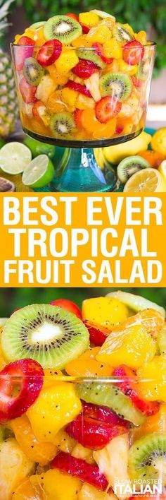 The Best Ever Tropical Fruit Salad is the only recipe you'll ever need. My entire picky family devoured this fruit salad. The dressing is truly magical. The combination of citrus juices with honey are phenomenal. Then we added a few special ingredients t Healthy Snacks, Healthy Eating, Healthy Recipes, Tropical Fruit Salad, Fruit Fruit, Hawaiin Fruit Salad, Fresh Fruit Desserts, Fruit Cups, Health Desserts