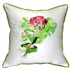 Geranium Extra Large Zippered Indoor or Outdoor Pillow 22x22 Extra large indoor/outdoor pillows with a zippered cover and a removable polyfill insert. Square pillows measure 22x22 and rectangular pillows measure 20x24.