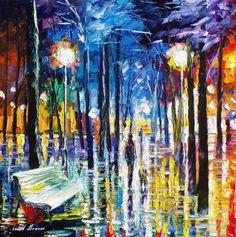 Little Steps Night Rain Wall Art Oil Painting by AfremovArtStudio