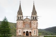 Country Church  Beautiful ancient church  Spanish Covadonga church in the mountain  Basilica of Our Lady of Battles in Covadonga, Asturias, Spain. Stock Photo - 18572575