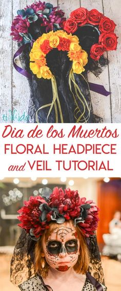 Tutorial for making a Dia de los Muertos (Day of the Dead) floral headpiece. Tutorial for making a Dia de los Muertos (Day of the Dead) floral headpiece. Diy Day Of The Dead, Day Of The Dead Party, Mexico Day Of The Dead, Day Of The Dead Mask, Malibu Rum, Malibu Coconut, Coconut Rum, Wedding Headband, Samhain