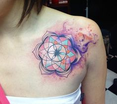 50 of the Most Beautiful Mandala Tattoo Designs for Your Body & Soul - KickAss Things Mandala Tattoo Design, Tattoo Designs, Geometric Symbols, Geometric Nature, Little Tattoos, Small Tattoos, Mandala Tattoo Schulter, Kaleidoscope Tattoo, Beautiful Tattoos For Women