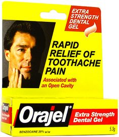 Oragel - relieves toothache, numbs wounds so you can suture or remove bullets, glass, also useful on open painful blisters - ballerinas swear by it