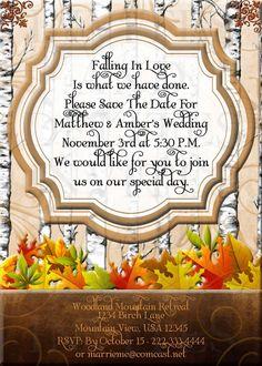 Falling In Love Birch Trees Save The Date Card- Custom Digital File