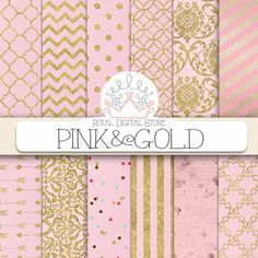 """Pink Digital Paper: """" Pink and Gold"""" with pink background, pink scrapbook paper, pink printable, pink and gold patterns with damask, chevron #pink #gold #planner #damask #digitalpaper #scrapbookpaper"""