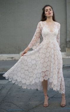 Elegant v Neck Solid White Lace Maxi Dress - Damenmode Dresses For Sale, Dresses Online, White Lace Maxi Dress, Romantic Lace, Swing Dress, Marie, Fashion Dresses, Dresses With Sleeves, Couture