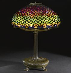 TIFFANY STUDIOS PEACOCK FEATHER TABLE LAMP.