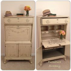 Antique Secretary Painted Desk in Annie Sloan Chalk Paint Cream and French Linen by Furniture Alchemy, shabby chic desk, painted furniture