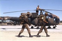 South African joint army and air force operations in South West Africa (now Namibia). 1988 Ondangwa Air Force Base (AFB), here is a great photo capturing a reaction force on the move, here seen walking past a SAAF Alouette III under general maintenance on Modern Fighter Jets, Once Were Warriors, Sud Aviation, South African Air Force, Army Day, West Africa, Military History, Great Photos, Choppers