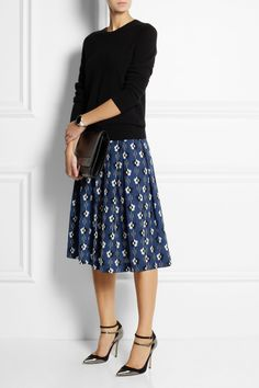 Lulu & Co | Printed silk-crepe skirt | NET-A-PORTER.COM