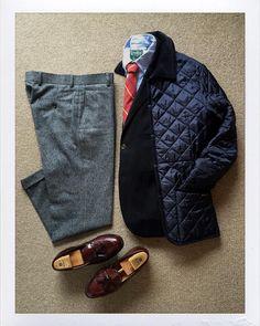 Today's Outfit. #Lavenham Denham Quilting Jacket #lavenham2015 #BrooksBrothers Navy 3B Blazer #GitmanVintage Oxford BD-Shirt BrooksBrothers #OwnMake Silk Tie BrooksBrothers OwnMake Wool...