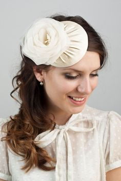 Bridal millinery hat with silk organza flower from BeChicAccessories via etsy.  #hairaccessories #bridalhats  #headpieces