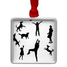 Fathermotherkidspet Dogs playing ballfamily Metal Ornament - family gifts love personalize gift ideas diy