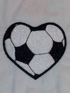 Soccer Ball Heart Embroidery Design by EmbroideryDownloads on Etsy, $1.99