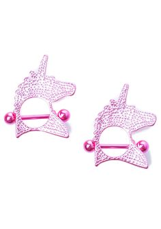 Unicorn Crush Nipple Ring Pack those boobies are sooo celestial~ These adorable nipple rings feature a skin-safe pink stainless steel construction, unicorn charms, and barbell closure.