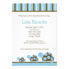 Mod Blue Turtles Striped Baby Shower invite 5 x 7